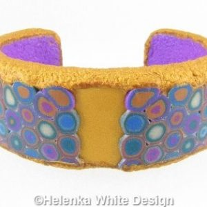 Gold and purple Klimt bangle - front