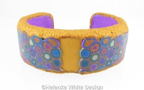 Gold and purple Klimt bangle - front