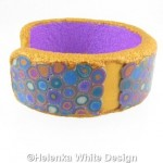Gold and purple Klimt bangle - side