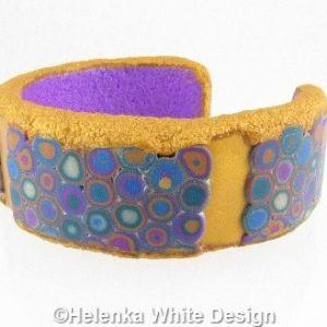 Gold and purple Klimt bangle - side