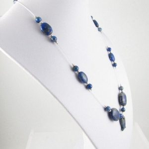 Lapis Lapuzil necklace on bust - side view