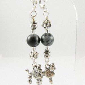 Poodle earrings with Snowflake Obsidian beads