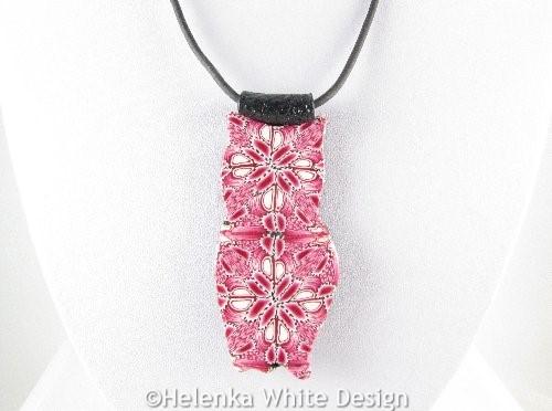 Pink owl pendant - detail