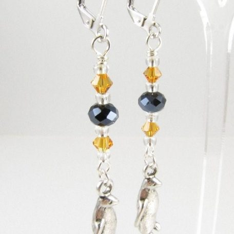 Penguin earrings with black and topaz beads