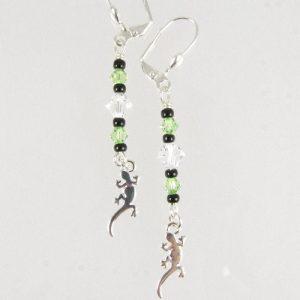 Gecko earrings in green