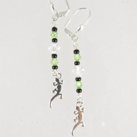 Gecko earrings in green
