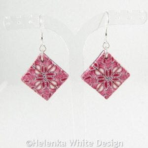 Pink polymer clay square earrings 3