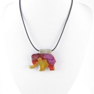 Purple polymer clay elephant pendant bust