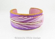 Purple and gold feather bangle - front