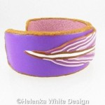 Purple and gold feather bangle - side