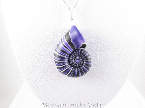 Purple nautilus pendant detail