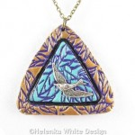 Purple and bronze swallow pendant - detail