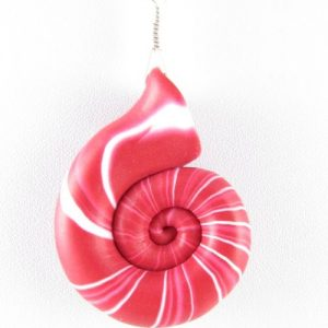 Red nautilus pendant detail