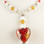 Red heart necklace -detail