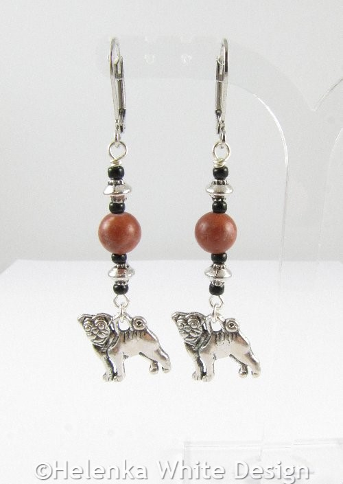 English Bulldog earrings with red Malachite
