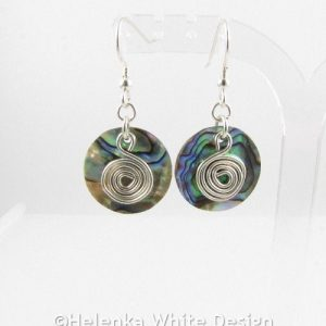 Round Paua Shell earrings 1