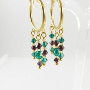 Emerald and siam earrings