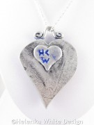 Silver and blue Jugendstil heart pendant - back
