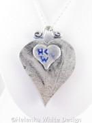Silver and blue Jugendstil heart pendant - back