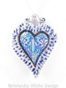 Silver and blue Jugendstil heart pendant- detail