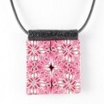 Square pink Kaleidoscope pendant - detail