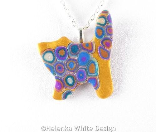 Standing Klimt cat pendant - detail