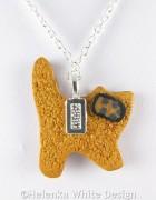 Standing Klimt cat pendant - back