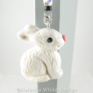 White rabbit bookmark -detail