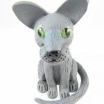 Grey cat sculpture