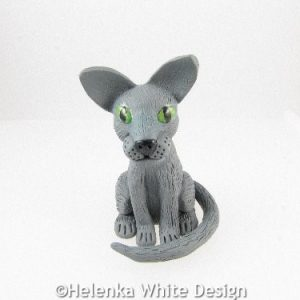 Grey cat sculpture