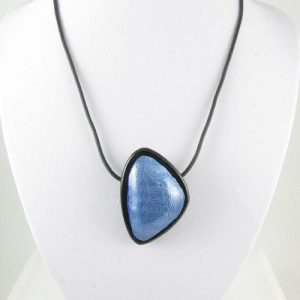 Silver and blue Mokume Gane pendant 1