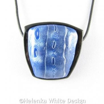 Blue and silver Mokume Gane pendant 2 - detail