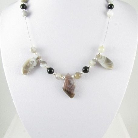 Necklace with Botswana Agate drops 2