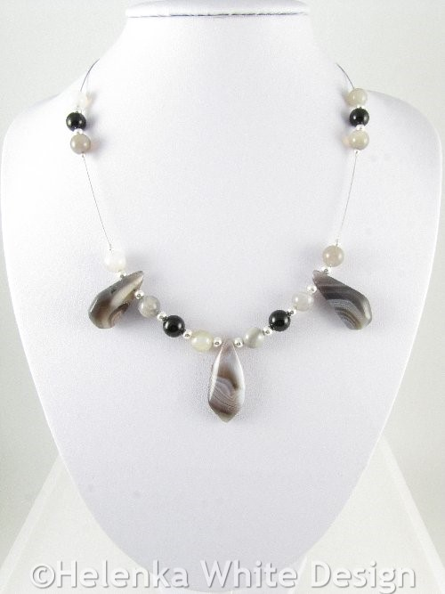 Necklace with Botswana Agate drops 1