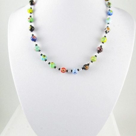 Necklace with Millefiori glass beads