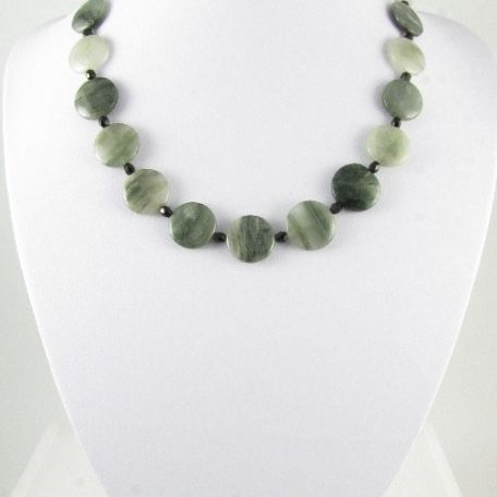 Necklace with green rutilated Quartz coins