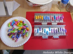 Organic beads - some finished and some ready for baking.