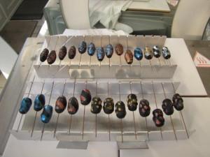 Black beads on bead rack