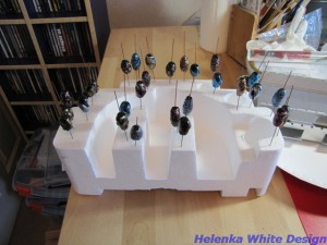 Black beads drying