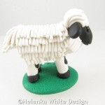 Valais Blacknose sheep with horns - side