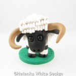 Valais Blacknose sheep with horns sculpture