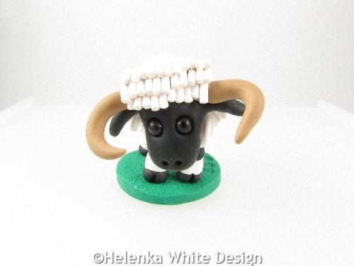 Valais Blacknose sheep with horns sculpture
