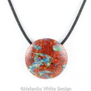 Faux Boulder Opal round pendant - detail
