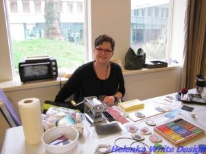 Bettina Welker at her table