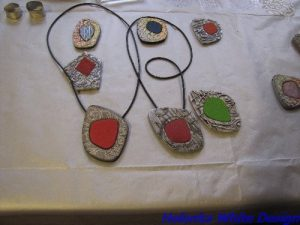 Bettina's pendants - unfortunately the light was not very good for photography.