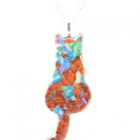 Faux Boulder Opal sitting cat pendant - detail
