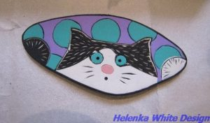 One of Donna's cat brooches