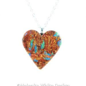 Faux Boulder Opal heart pendant - detail