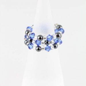 Hemalyke ring with Sapphire Swarovski crystals