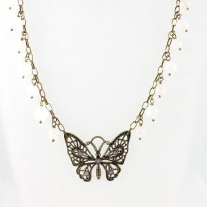Rose Quartz butterfly necklace